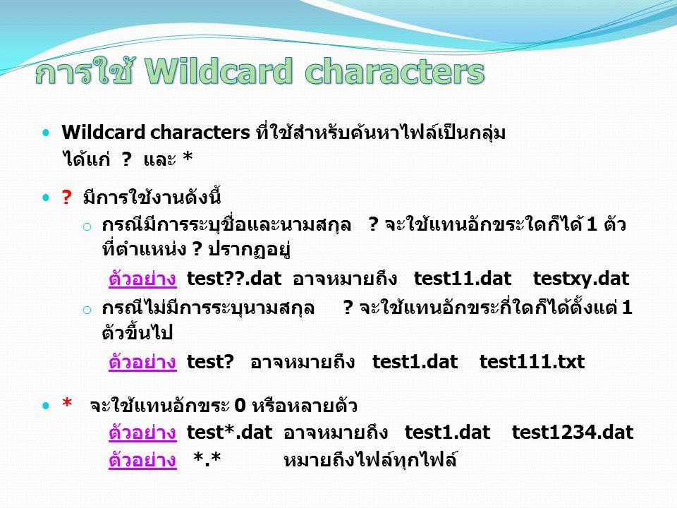 การใช้ Wildcard characters