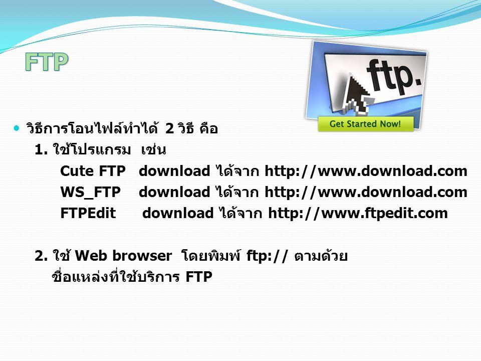 FTP วิธีการโอนไฟล์ทำได้ 2 วิธี คือ 1. ใช้โปรแกรม เช่น