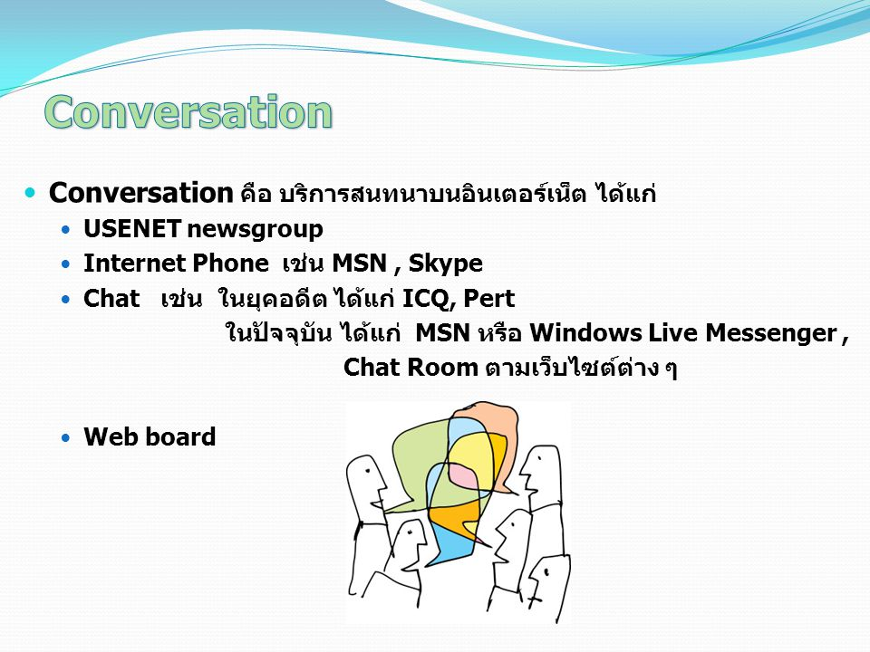Conversation Conversation คือ บริการสนทนาบนอินเตอร์เน็ต ได้แก่