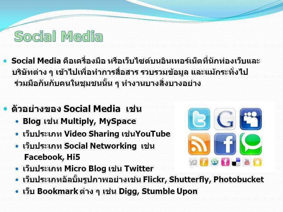 Social Media ตัวอย่างของ Social Media เช่น Blog เช่น Multiply, MySpace
