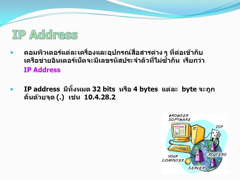 IP Address คอมพิวเตอร์แต่ละเครื่องและอุปกรณ์สื่อสารต่าง ๆ ที่ต่อเข้ากับเครือข่ายอินเตอร์เน็ตจะมีเลขรหัสประจำตัวที่ไม่ซ้ำกัน เรียกว่า.