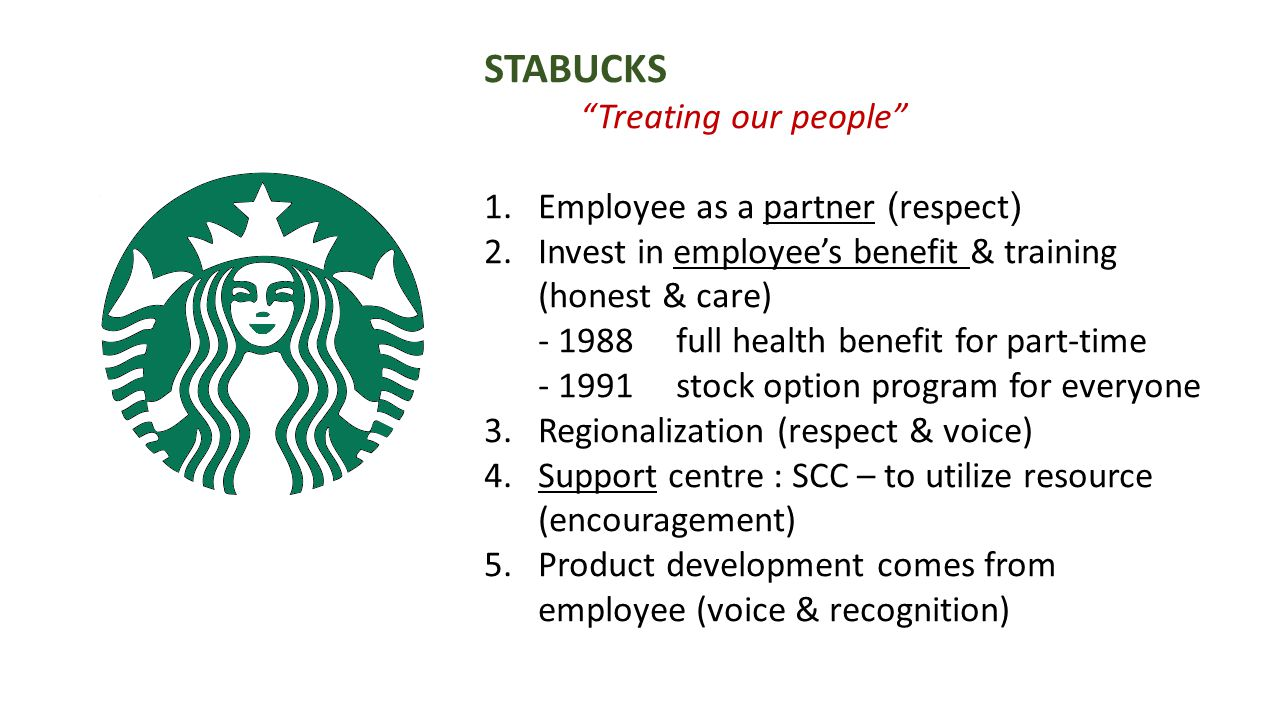 STABUCKS Treating our people Employee as a partner (respect)