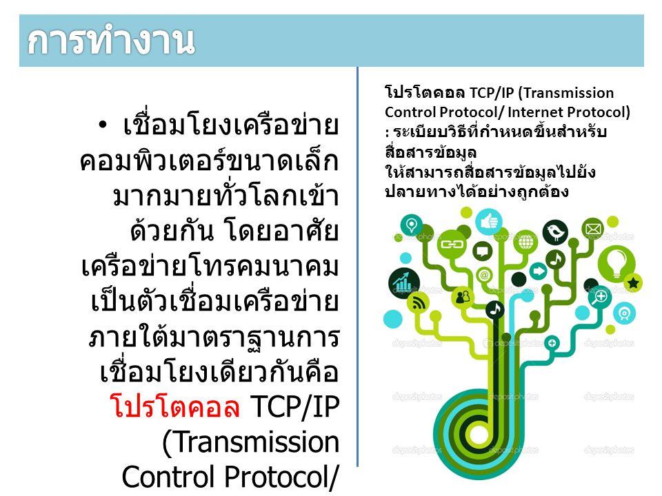 การทำงาน โปรโตคอล TCP/IP (Transmission Control Protocol/ Internet Protocol) : ระเบียบวิธีที่กำหนดขึ้นสำหรับสื่อสารข้อมูล.