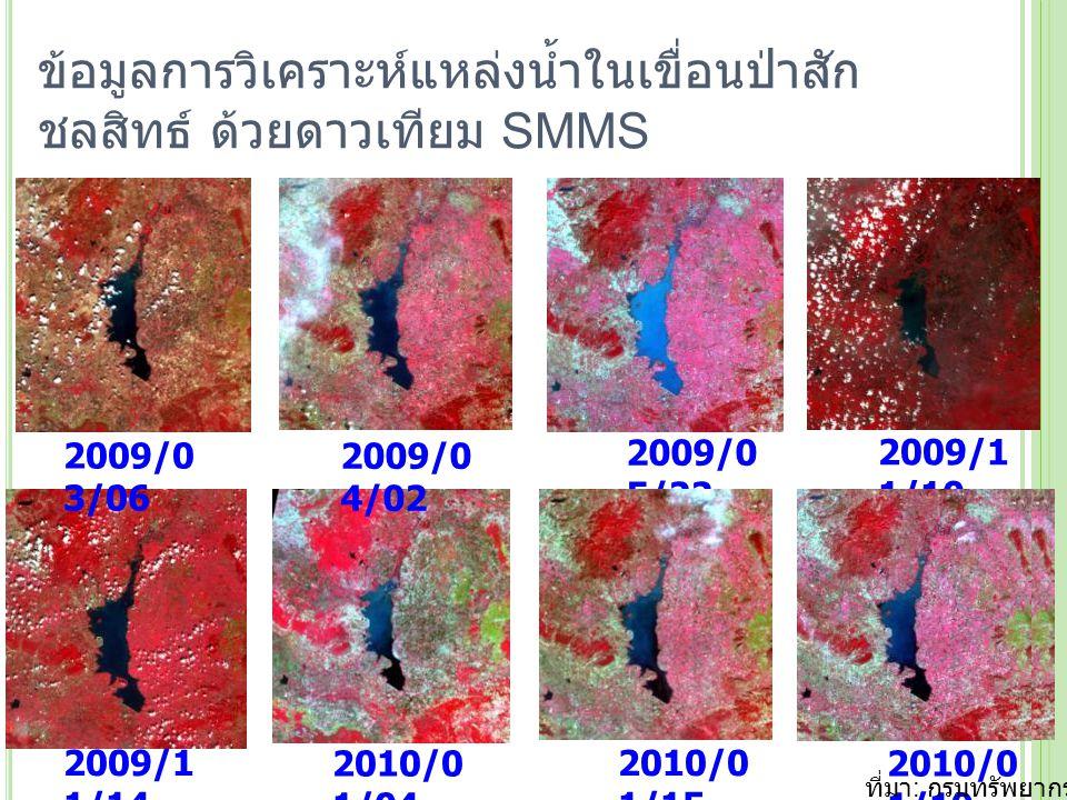 ข้อมูลการวิเคราะห์แหล่งน้ำในเขื่อนป่าสักชลสิทธ์ ด้วยดาวเทียม SMMS