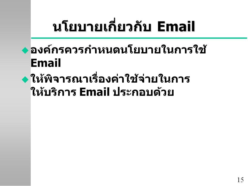นโยบายเกี่ยวกับ Email