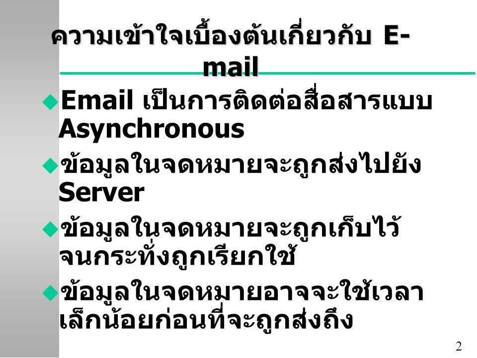 ความเข้าใจเบื้องต้นเกี่ยวกับ E-mail