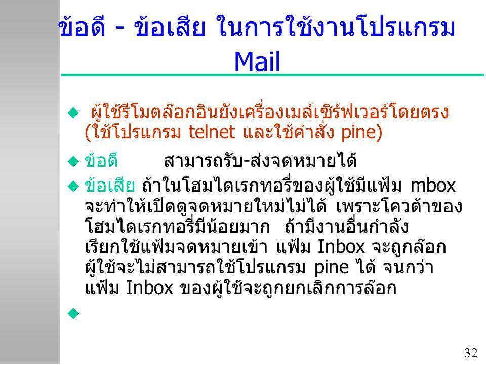 ข้อดี - ข้อเสีย ในการใช้งานโปรแกรม Mail