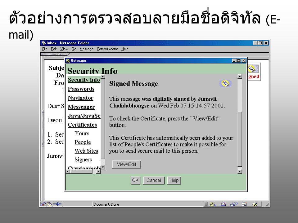 ตัวอย่างการตรวจสอบลายมือชื่อดิจิทัล (E-mail)