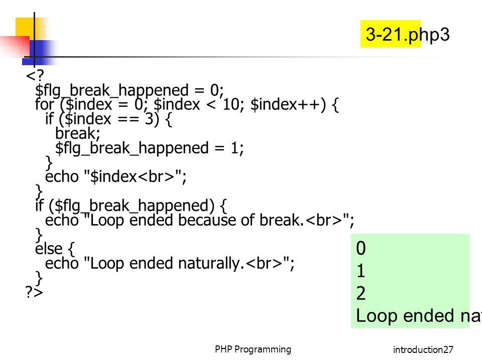 3-21.php3 1 2 Loop ended naturally. < $flg_break_happened = 0;