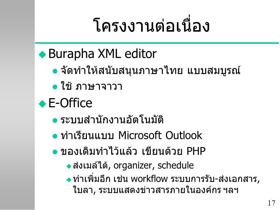 โครงงานต่อเนื่อง Burapha XML editor E-Office
