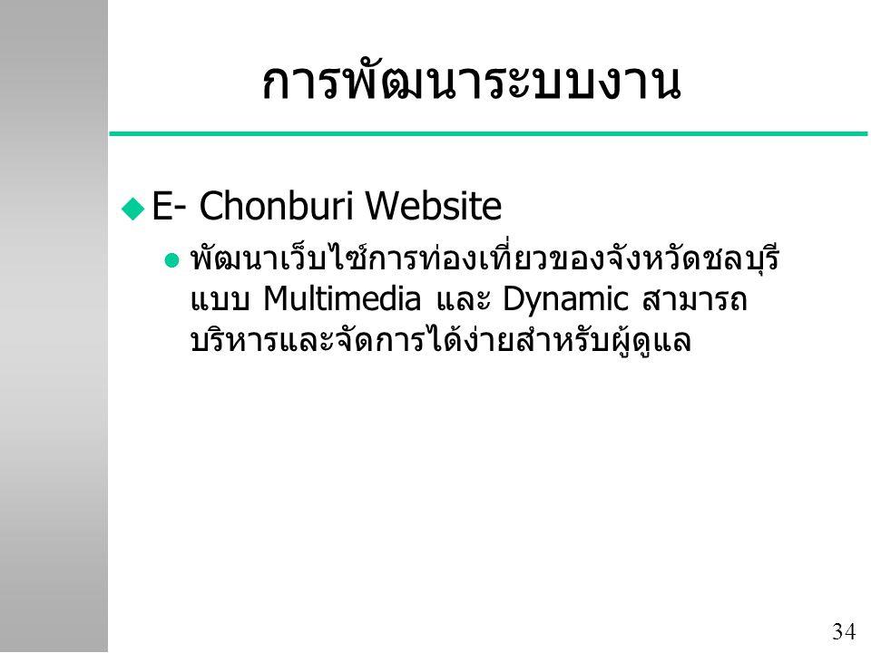 การพัฒนาระบบงาน E- Chonburi Website