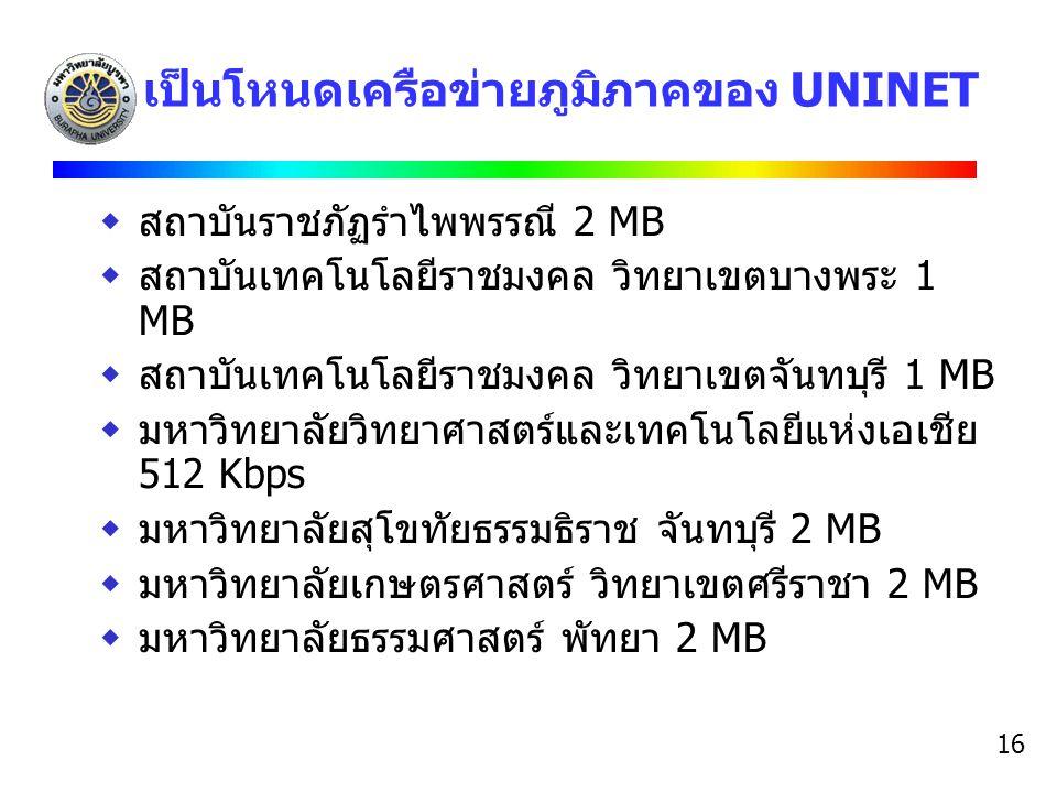 เป็นโหนดเครือข่ายภูมิภาคของ UNINET