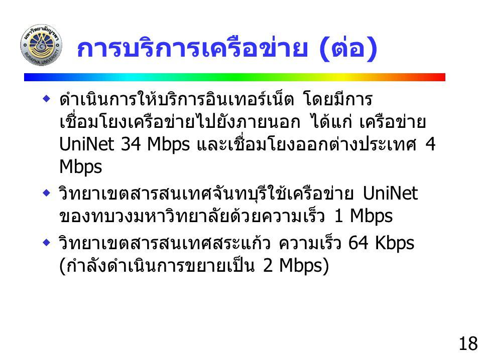 การบริการเครือข่าย (ต่อ)