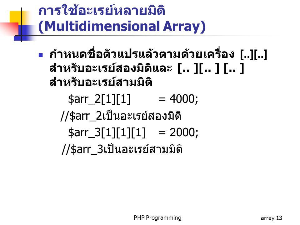 การใช้อะเรย์หลายมิติ (Multidimensional Array)