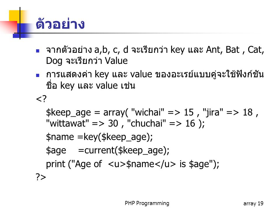 ตัวอย่าง จากตัวอย่าง a,b, c, d จะเรียกว่า key และ Ant, Bat , Cat, Dog จะเรียกว่า Value.