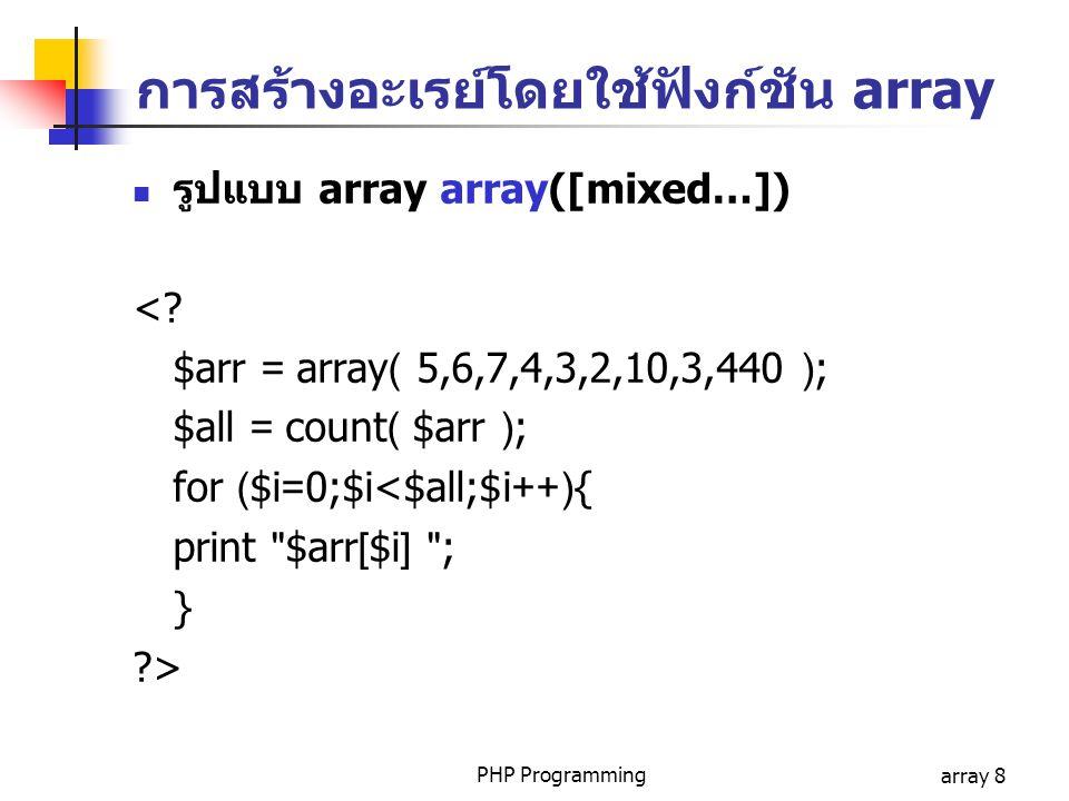 การสร้างอะเรย์โดยใช้ฟังก์ชัน array