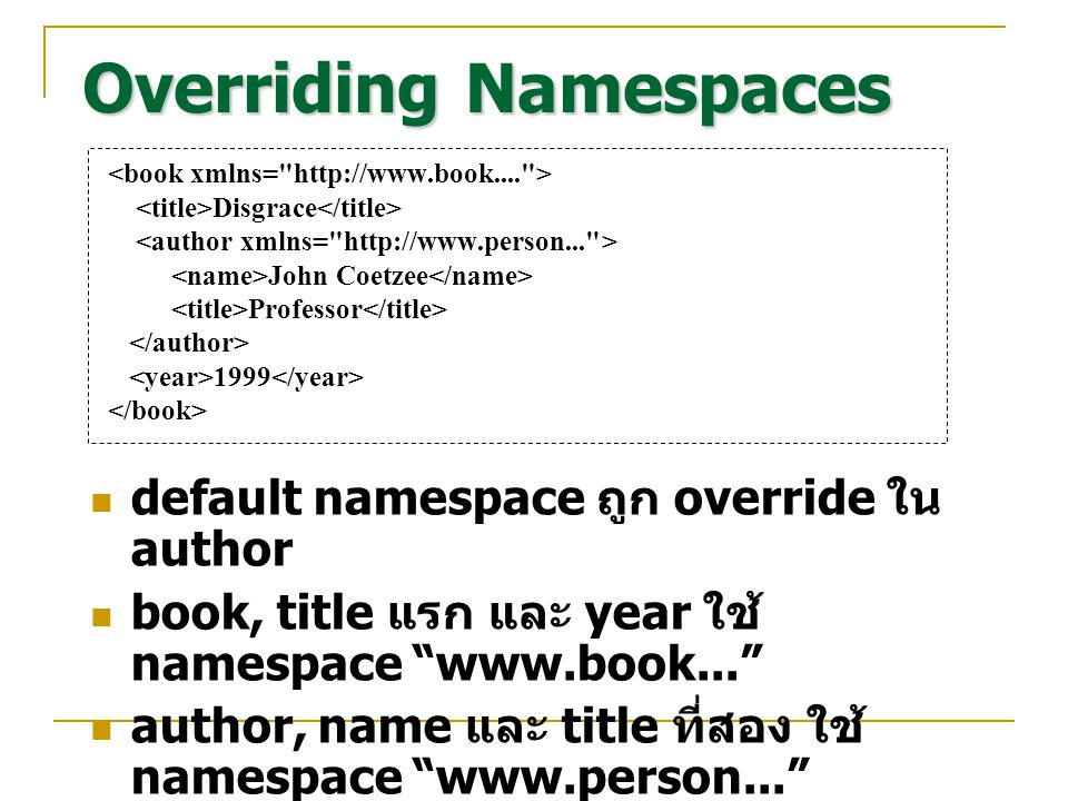 Overriding Namespaces