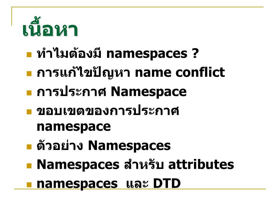เนื้อหา ทำไมต้องมี namespaces การแก้ไขปัญหา name conflict