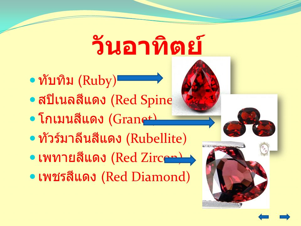 วันอาทิตย์ ทับทิม (Ruby) สปิเนลสีแดง (Red Spinel) โกเมนสีแดง (Granet)