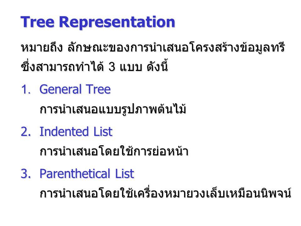 Tree Representation หมายถึง ลักษณะของการนำเสนอโครงสร้างข้อมูลทรี ซึ่งสามารถทำได้ 3 แบบ ดังนี้ 1. General Tree การนำเสนอแบบรูปภาพต้นไม้