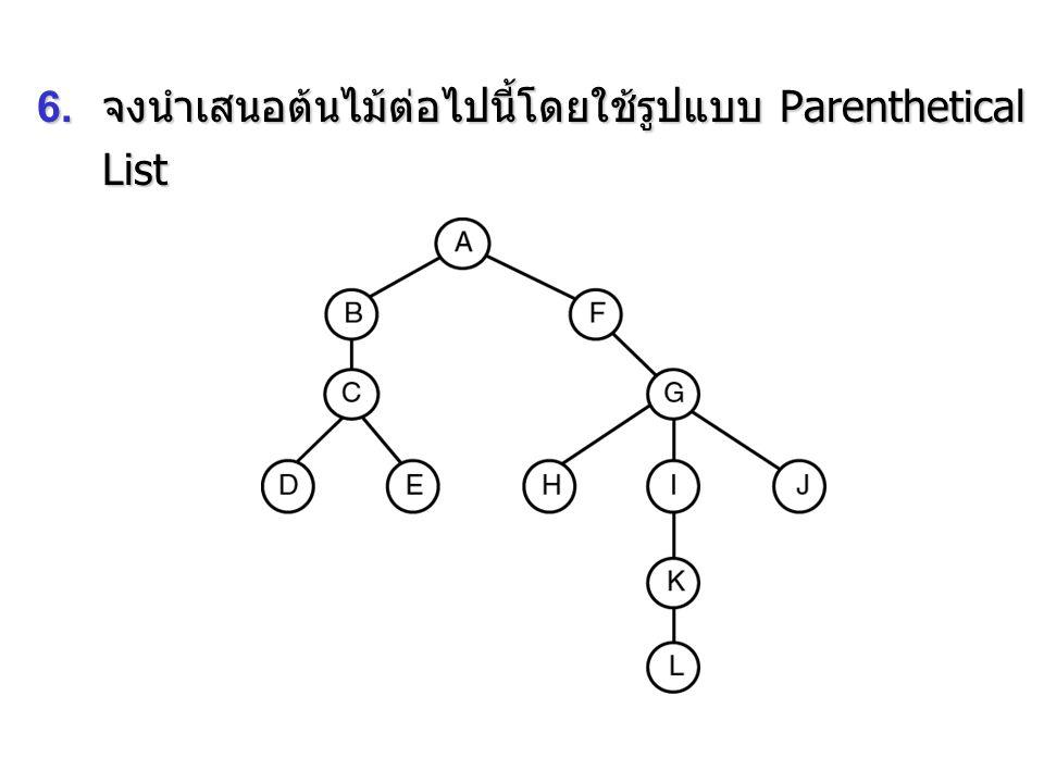 6. จงนำเสนอต้นไม้ต่อไปนี้โดยใช้รูปแบบ Parenthetical List