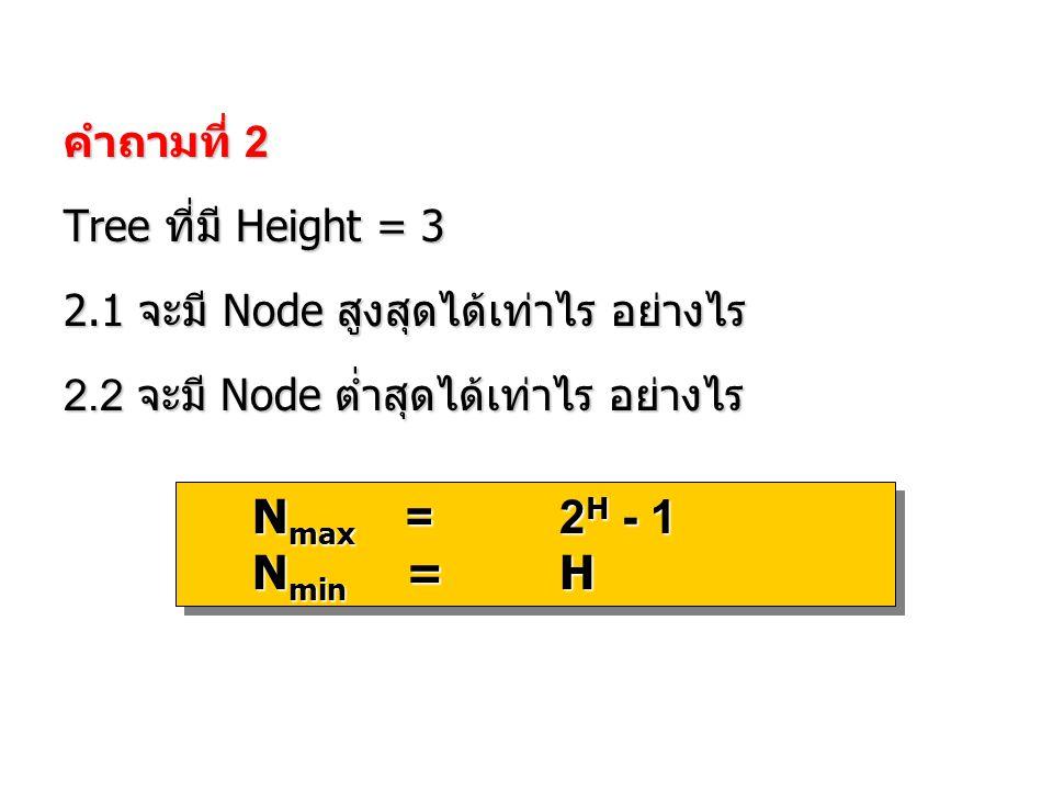 Nmin = H คำถามที่ 2 Tree ที่มี Height = 3