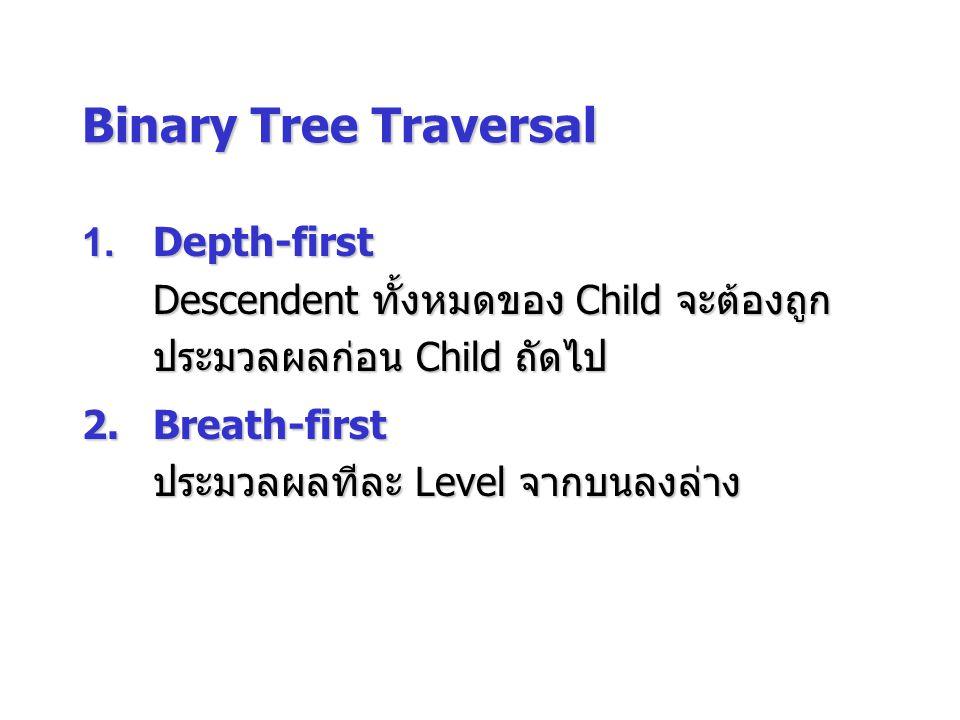 Binary Tree Traversal 1. Depth-first Descendent ทั้งหมดของ Child จะต้องถูกประมวลผลก่อน Child ถัดไป.