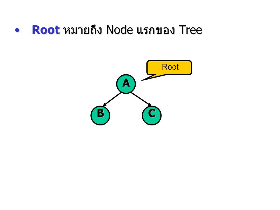Root หมายถึง Node แรกของ Tree