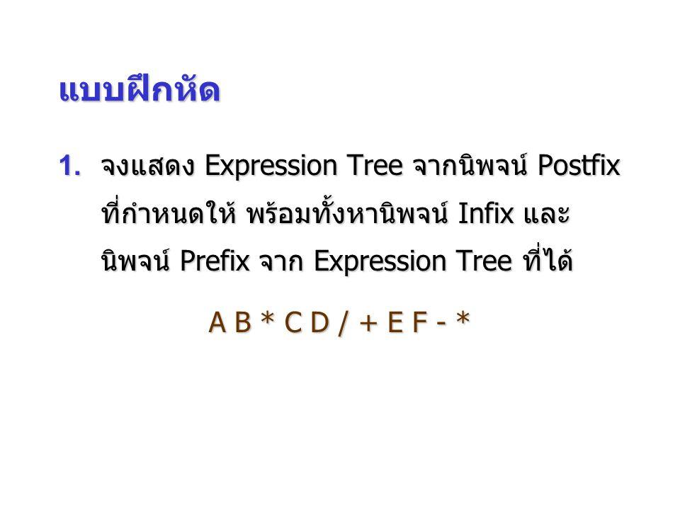 แบบฝึกหัด 1. จงแสดง Expression Tree จากนิพจน์ Postfix ที่กำหนดให้ พร้อมทั้งหานิพจน์ Infix และ นิพจน์ Prefix จาก Expression Tree ที่ได้