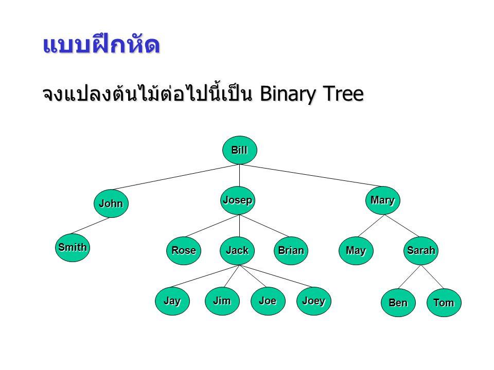 แบบฝึกหัด จงแปลงต้นไม้ต่อไปนี้เป็น Binary Tree Bill John Josep Mary