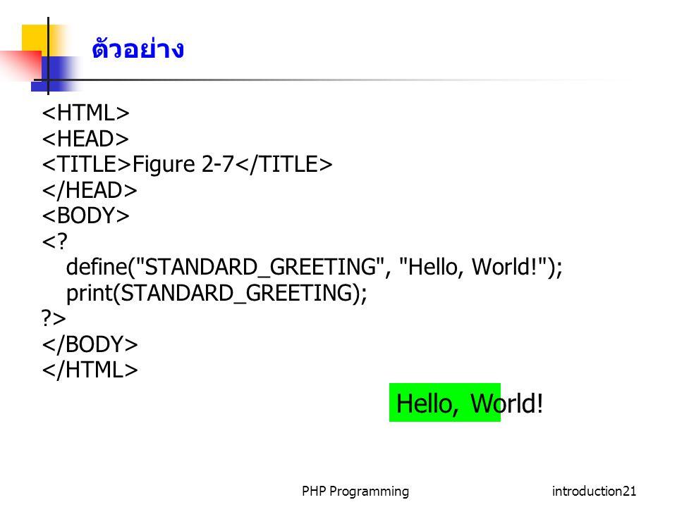 ตัวอย่าง Hello, World! <HTML> <HEAD>