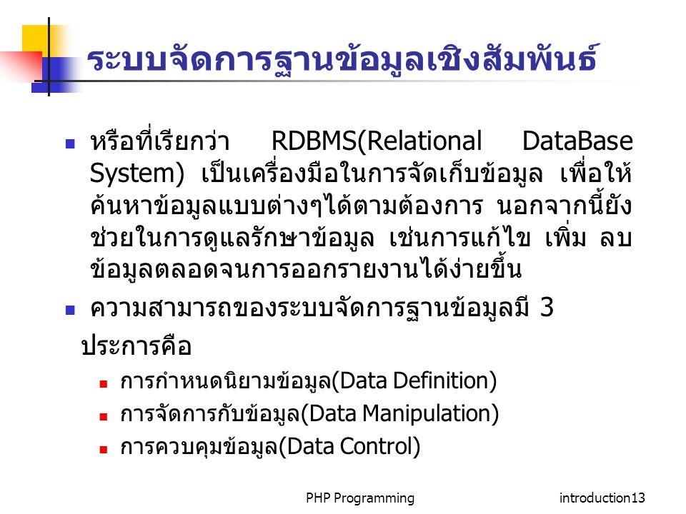 ระบบจัดการฐานข้อมูลเชิงสัมพันธ์