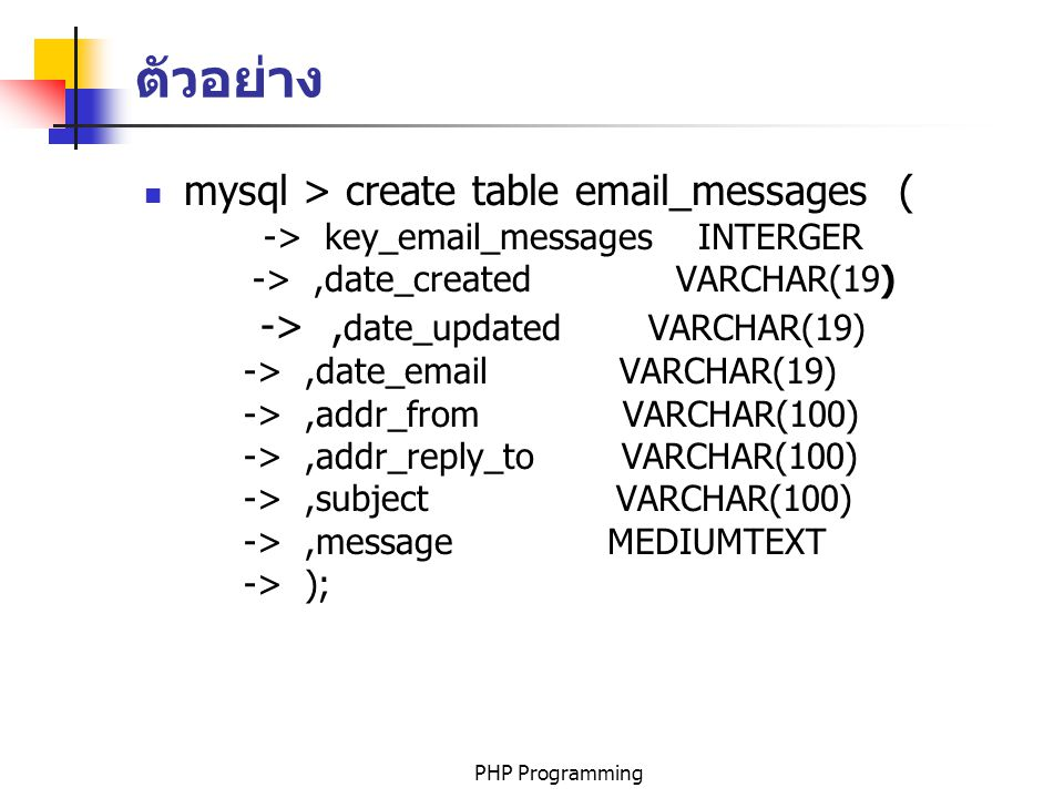 ตัวอย่าง mysql > create table email_messages (