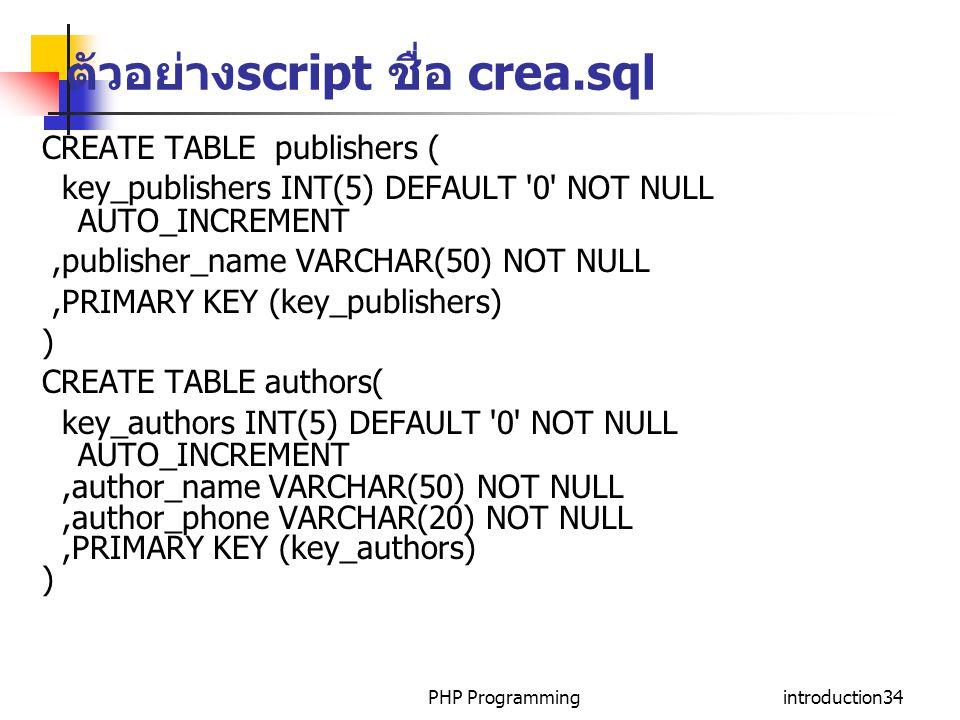 ตัวอย่างscript ชื่อ crea.sql