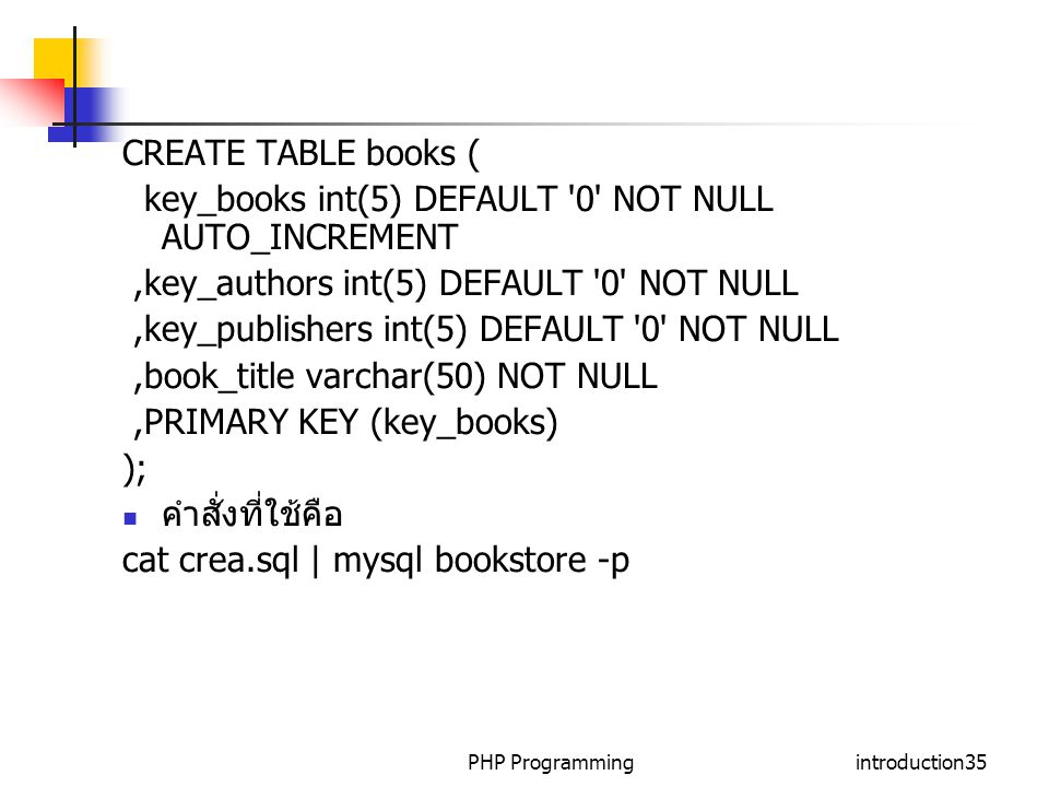 key_books int(5) DEFAULT 0 NOT NULL AUTO_INCREMENT