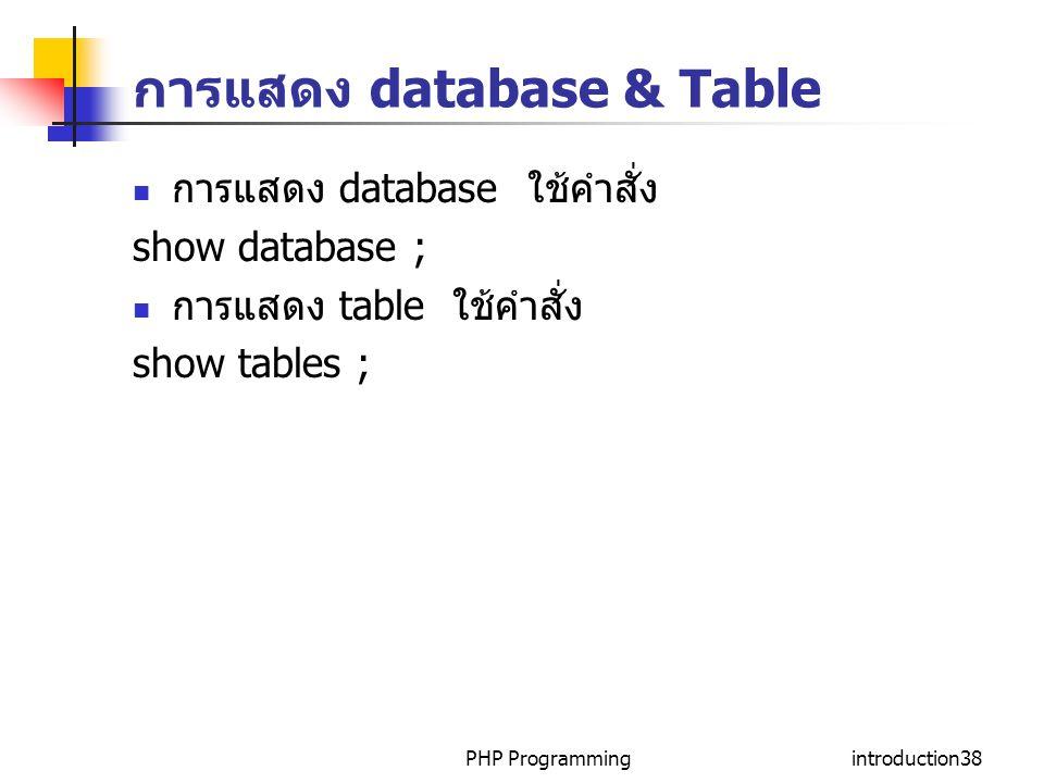 การแสดง database & Table