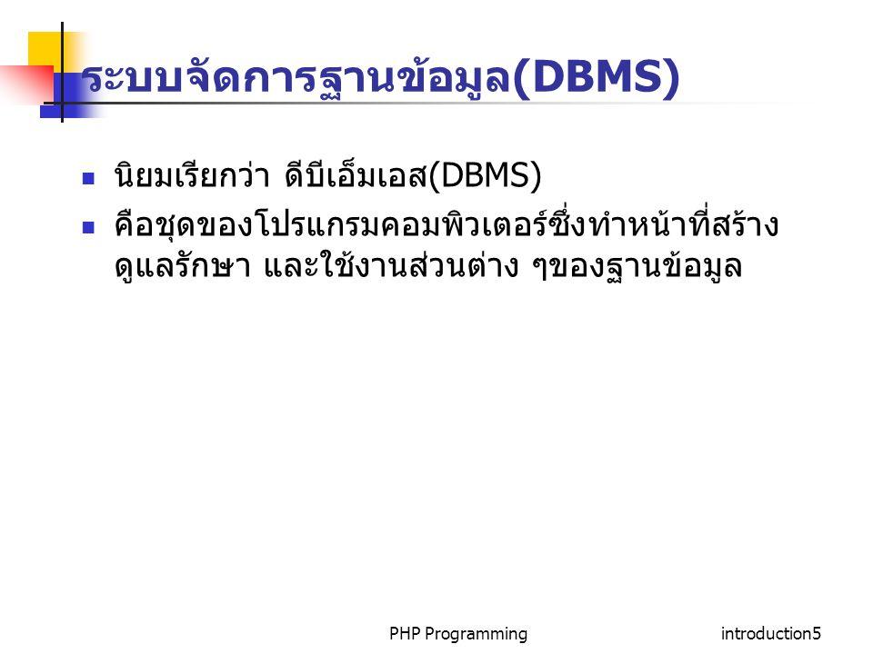 ระบบจัดการฐานข้อมูล(DBMS)
