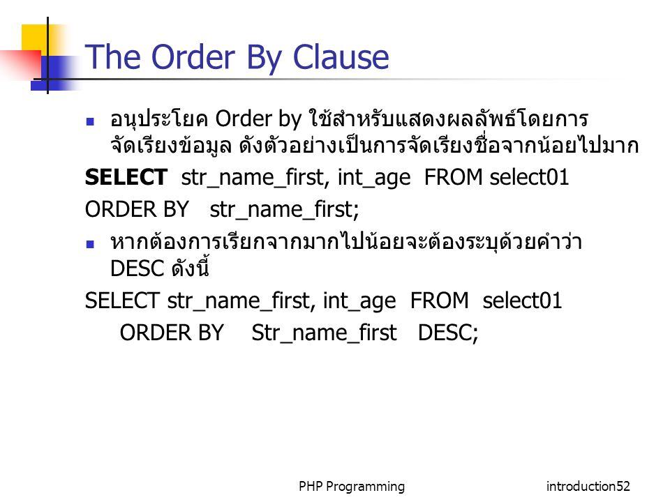 The Order By Clause อนุประโยค Order by ใช้สำหรับแสดงผลลัพธ์โดยการจัดเรียงข้อมูล ดังตัวอย่างเป็นการจัดเรียงชื่อจากน้อยไปมาก.