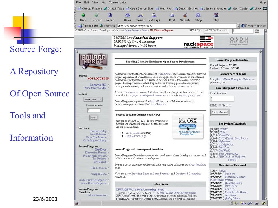 Source Forge: A Repository Of Open Source Tools and Information