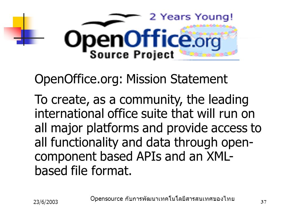 OpenOffice.org: Mission Statement
