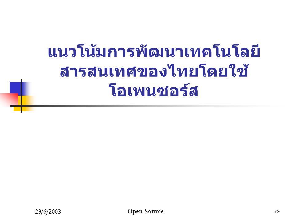 แนวโน้มการพัฒนาเทคโนโลยีสารสนเทศของไทยโดยใช้ โอเพนซอร์ส