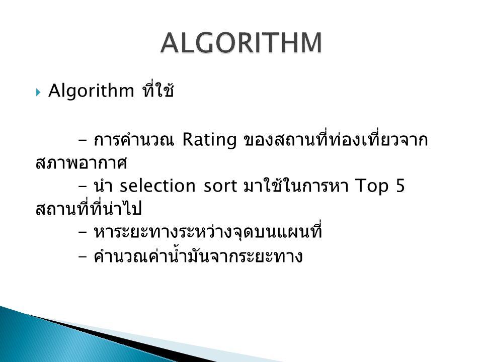 ALGORITHM Algorithm ที่ใช้