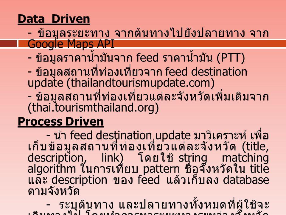 Data Driven - ข้อมูลระยะทาง จากต้นทางไปยังปลายทาง จาก Google Maps API. - ข้อมูลราคาน้ำมันจาก feed ราคาน้ำมัน (PTT)