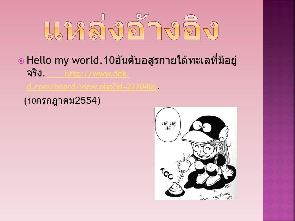 แหล่งอ้างอิง Hello my world.10อันดับอสูรกายใต้ทะเลที่มีอยู่จริง. http://www.dek-d.com/board/view.php id=2220406.