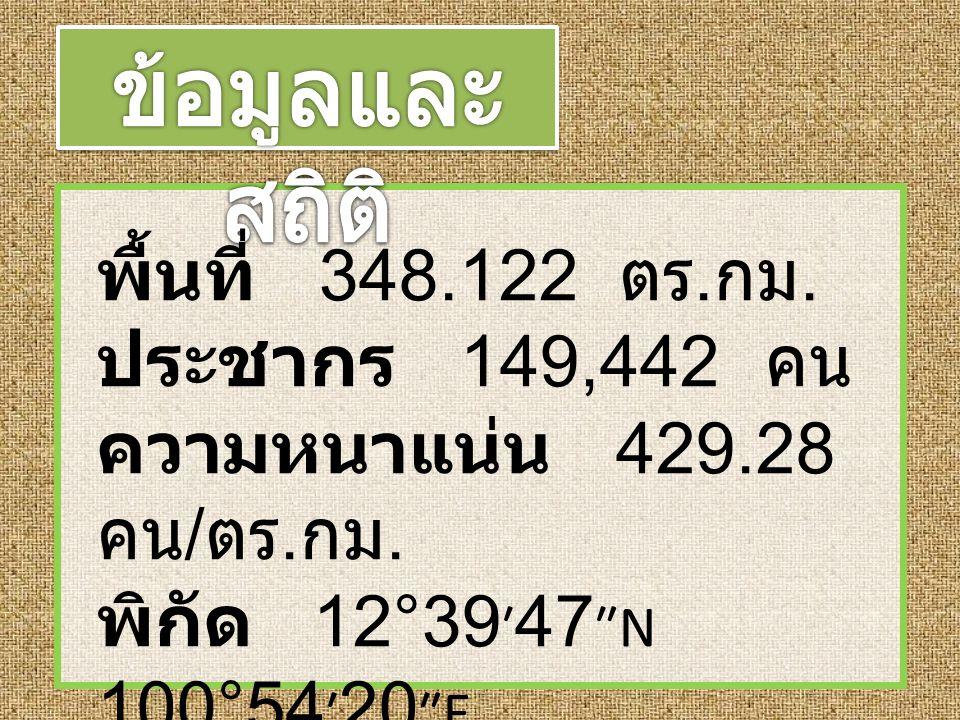 ข้อมูลและสถิติ พื้นที่ 348.122 ตร.กม. ประชากร 149,442 คน