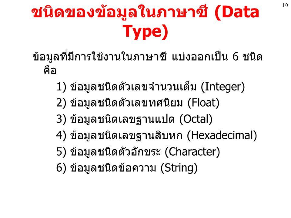 ชนิดของข้อมูลในภาษาซี (Data Type)