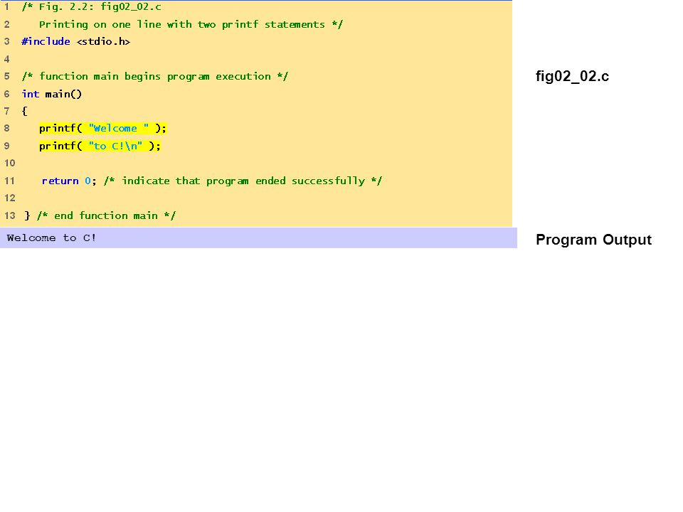 fig02_02.c Program Output Welcome to C!