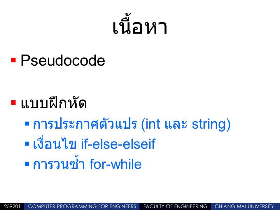 เนื้อหา Pseudocode แบบฝึกหัด การประกาศตัวแปร (int และ string)