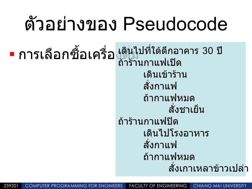 ตัวอย่างของ Pseudocode