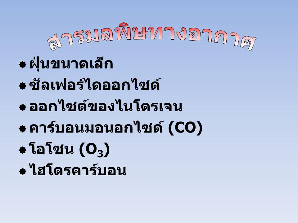 สารมลพิษทางอากาศ ฝุ่นขนาดเล็ก. ซัลเฟอร์ไดออกไซด์ ออกไซด์ของไนโตรเจน. คาร์บอนมอนอกไซด์ (CO) โอโซน (O3)